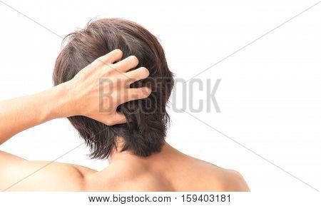 Closeup man hand itchy scalp Hair care concept