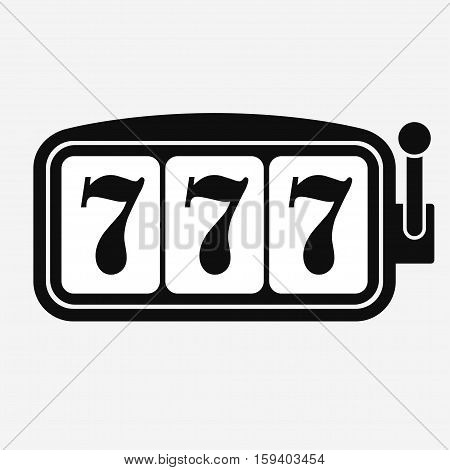 Lucky seven Slot machine, game jackpot symbol with three sevens. Vector