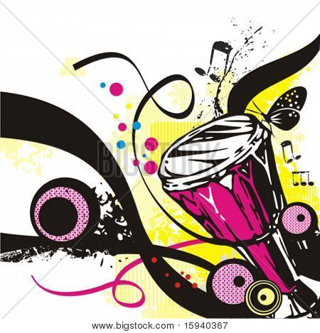 Music instrument background series, vector illustration of a djembe with grunge details.