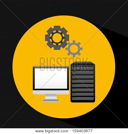 pc data base gear icon graphic vector illustration eps 10
