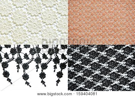 four style of abstract seamless lace pattern