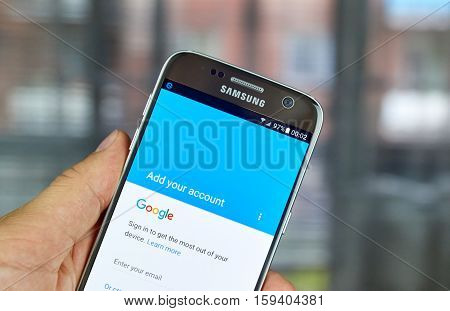 MONTREAL CANADA - JUNE 23 2016 : Google Account sign in on Samsung S7 screen.