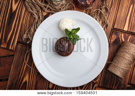 Chocolate Fondant And Ice Cream