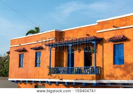 Orange And Blue Colonial Architecture