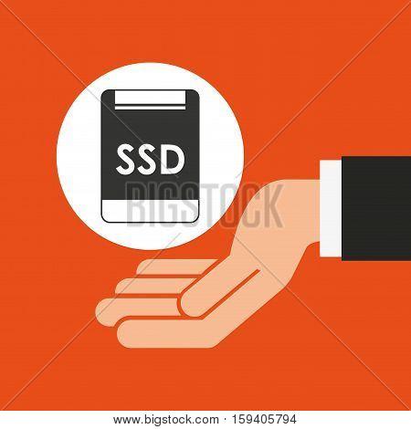 hands businessman data ssd card vector illustration eps 10