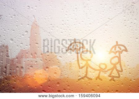 Draw Family Dad Mum And Child Hand With Umbrella In The Raining