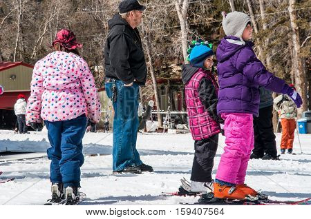 Group of Young Girl learning how to Ski at Ski School lessons at Sipapu Ski Resort , New Mexico , USA - Editorial: February 28th 2012
