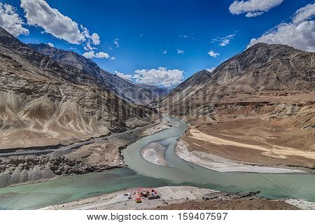 Scenic view of Confluence of Zanskar and Indus rivers - Leh Ladakh Jammu and Kashmir India