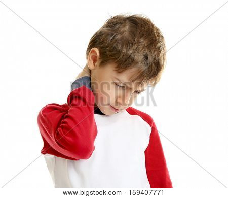 Cute little boy having neck pain, isolated on white
