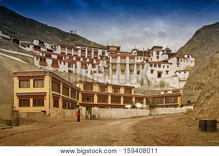 Rizong monastery with view of Himalayan mountians - it is a famous Buddhist temple inLeh Ladakh Jammu and Kashmir India.