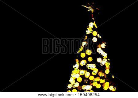 Shinny bokeh light Christmas Tree on white background