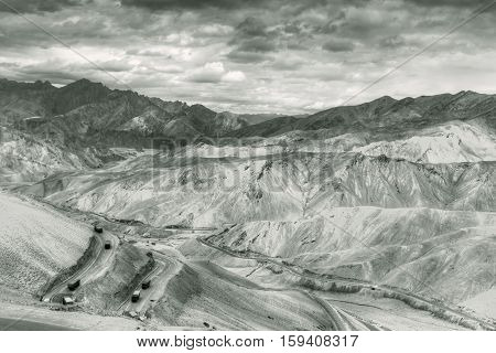 Aerial view of Zigzag road - famously known as jilabi road at old route of Leh Srinagar Highway Ladakh Jammu and Kashmir India. Filtered image