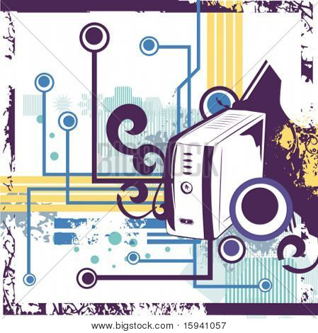 Computer related abstract background series. Vector illustration with a computer case, and circuit and grunge details.