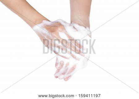 foam cream sample on hand isolated on white background