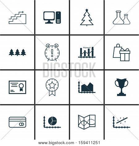 Set Of 16 Universal Editable Icons. Can Be Used For Web, Mobile And App Design. Includes Icons Such As Sequence Graphics, Desktop Computer, Certificate And More.