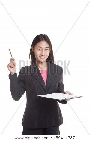 Young Asian business woman with pen and clipboard  isolated on white background.