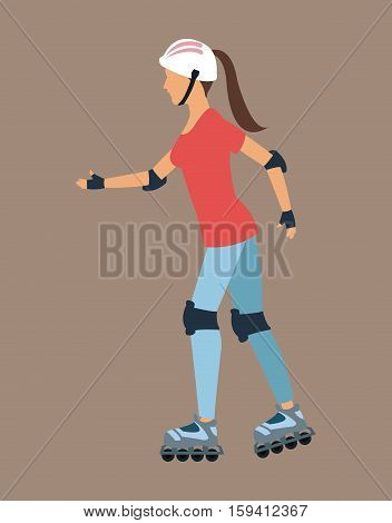 Woman walking with roller skates and protection vector illustration eps 10