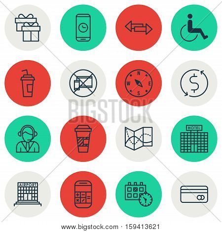 Set Of Transportation Icons On Crossroad, Forbidden Mobile And Road Map Topics. Editable Vector Illustration. Includes Compass, Dollar, Paper And More Vector Icons.