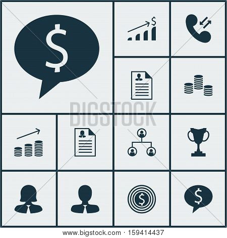 Set Of Management Icons On Tree Structure, Manager And Business Deal Topics. Editable Vector Illustration. Includes Increase, Application, Employee And More Vector Icons.