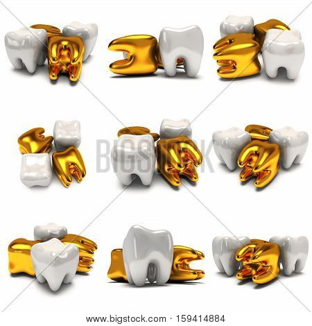 Teeth set. 3D render illustration isolated on white background. Dental, medicine, health concept.