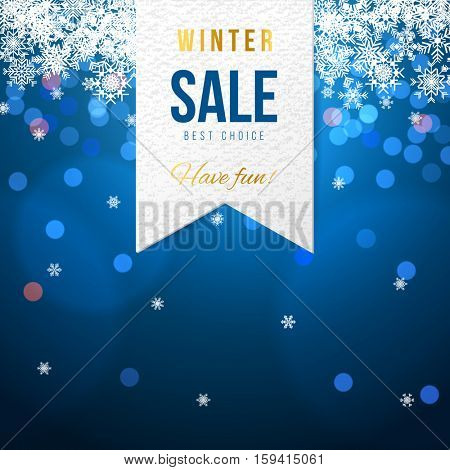 Sale banner with white snowflakes on blue background