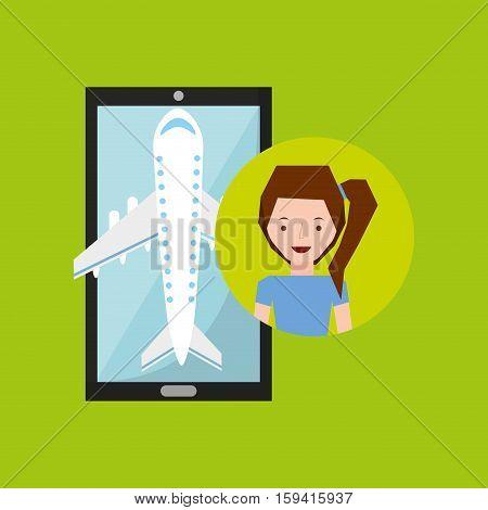 hand holds girl smile mobile application travel airport vector illustration eps 10