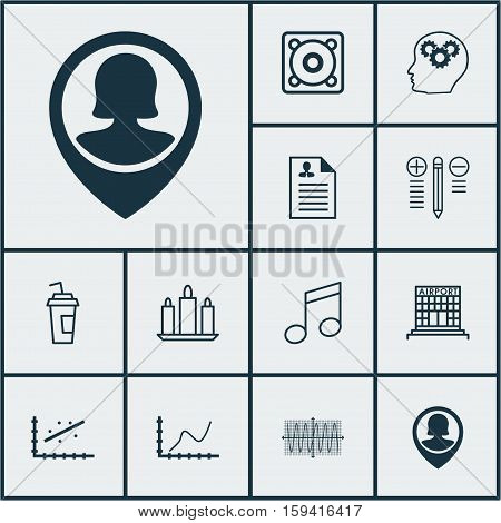 Set Of 12 Universal Editable Icons. Can Be Used For Web, Mobile And App Design. Includes Icons Such As Pin Employee, Crotchets, Airport Construction And More.