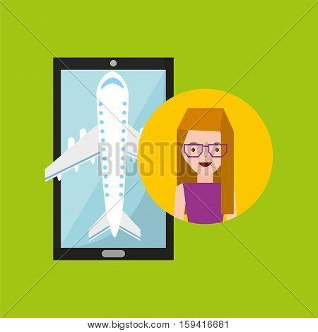 girl glasses hand holds mobile application travel airport vector illustration eps 10