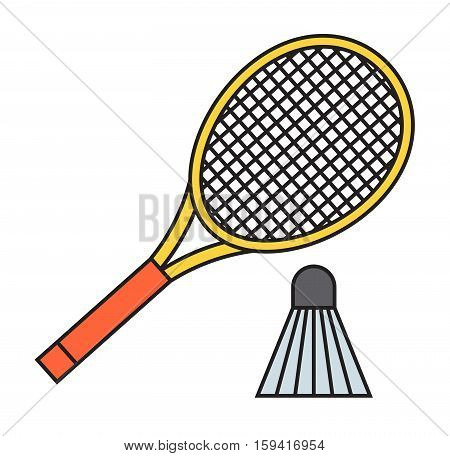 Two badminton racket and shuttlecock sport game leisure competition feather fitness vector. Action fun equipment professional court player racquet hobby.
