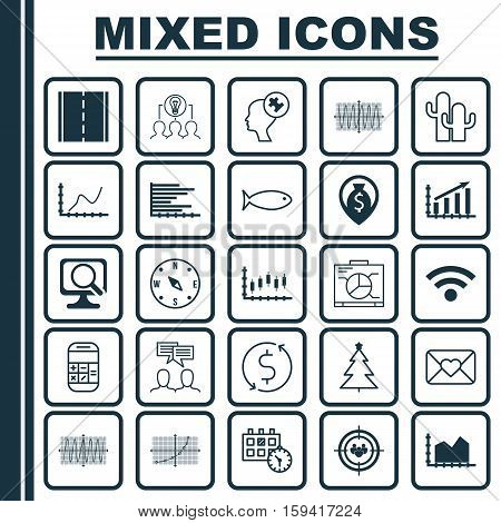 Set Of 25 Universal Editable Icons. Can Be Used For Web, Mobile And App Design. Includes Icons Such As Stock Market, Line Grid, Board And More.