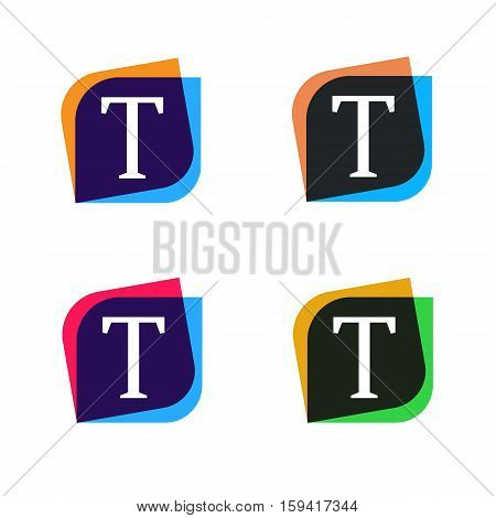 Abstract shape element company logo sign icon vector design. T letter logotype