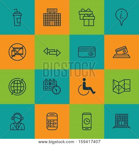 Set Of Transportation Icons On Accessibility, Credit Card And Calculation Topics. Editable Vector Illustration. Includes Drink, Disabled, Travel And More Vector Icons.