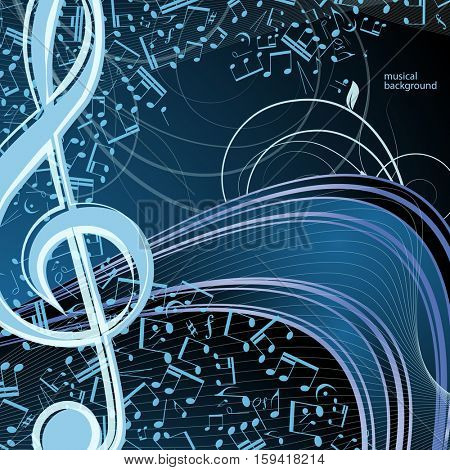 Vector music floral background: melody, notes, key, swirly.