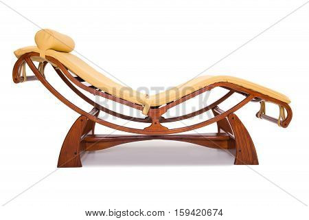 wooden chairs for relaxation isolated on white background