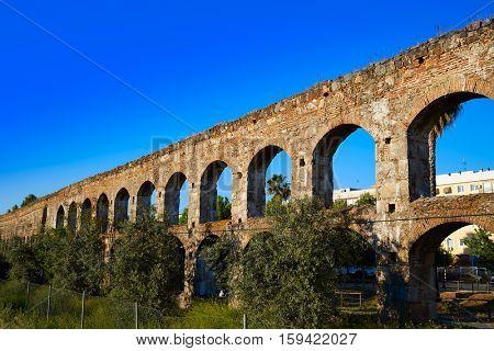 Acueducto San Lazaro in Merida Badajoz aqueduct at Extremadura of Spain image shot from the exterior public floor