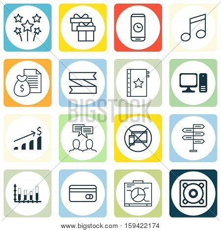 Set Of 16 Universal Editable Icons. Can Be Used For Web, Mobile And App Design. Includes Icons Such As Warranty, Blank Ribbon, Crotchets And More.