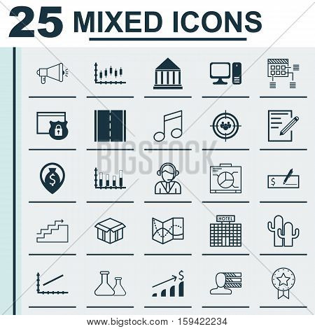 Set Of 25 Universal Editable Icons. Can Be Used For Web, Mobile And App Design. Includes Icons Such As Schedule, Paper, Stock Market And More.