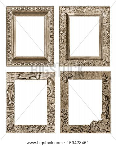 Picture Frame Isolated On White Background, Clipping Path, Toasted Almond Pantone Color