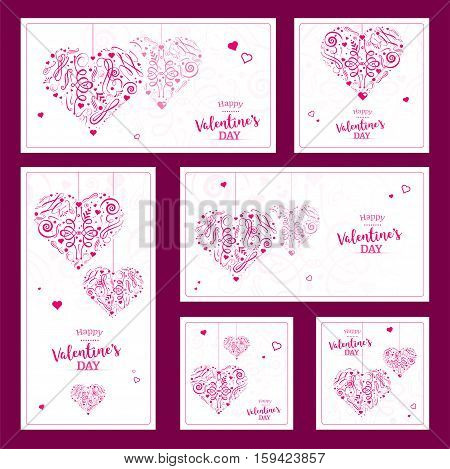 Set of Valentines wishes with abstract hearts - vector illustration