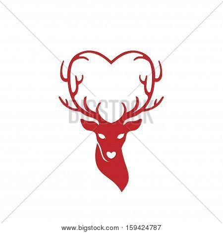 head of deer with antlers love, deer love alters logo concept
