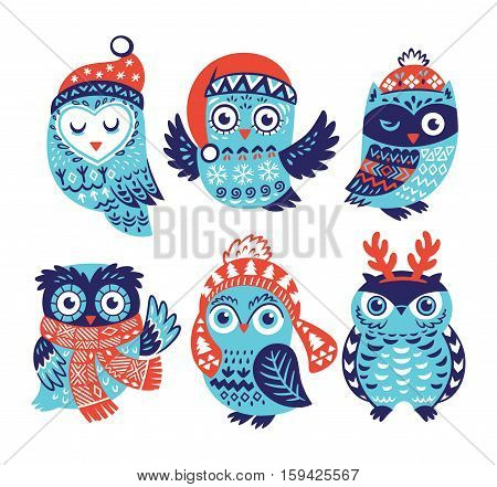 Cute cartoon owls in knitted hats, scarves and reindeer antlers. Vector illustration. Vintage winter owls isolated on white background