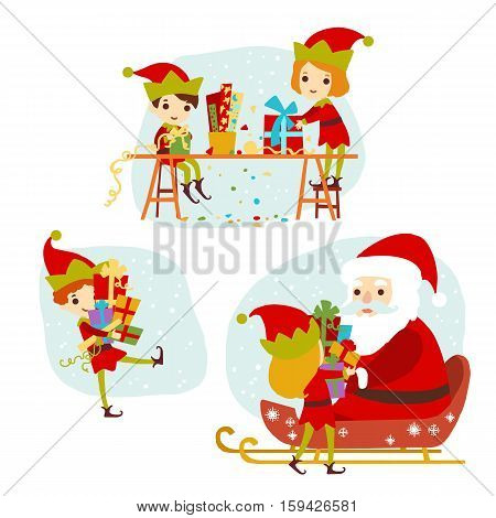 Elves Santa's helpers cartoon vector illustration. Set of Santa Claus elf christmas kids for congratulation card, website, celebration, booklet and banner.
