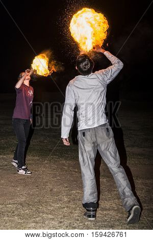 May 3, 2014. Ulan-ude, Russia: A Fire Show In The City Of Ulan-ude. Russia, Ulan-ude, 3 May 2014.
