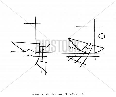 Hand drawn vector illustration or drawing of the religious symbol of a row boat nets and a Cross