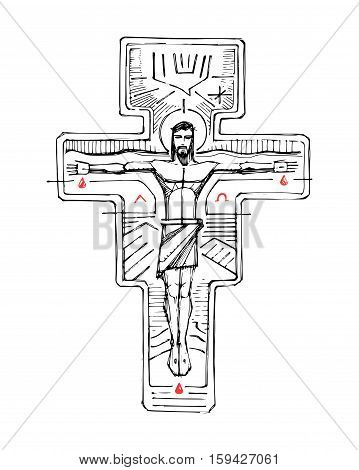 Hand drawn vector illustration or drawing of Jesus Christ at the Cross and religious symbols