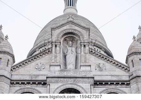 Basilica Sacre Coeur in Paris, France with white background