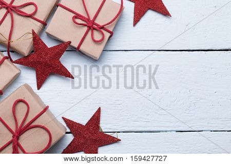 Boxes with gifts, red stars
