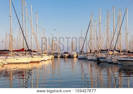 beautiful white modern yachts at sea port in sunset time