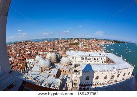 beautiful fisheye aerial view of Venice Italy
