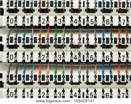 a telephone switchboard panel and a wires